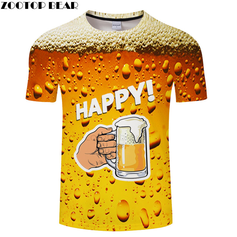 High Men t shirt Beer 3D Print Streetwear Funny Hombre Short Sleeve Brand Fashion Casual Shirts Breathable t-shirt ZOOTOP BEAR