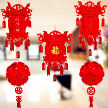 DIY Creative wedding decoration non-woven palace lantern New Year red lantern Chinese Spring Festival lantens wedding lantern(China)