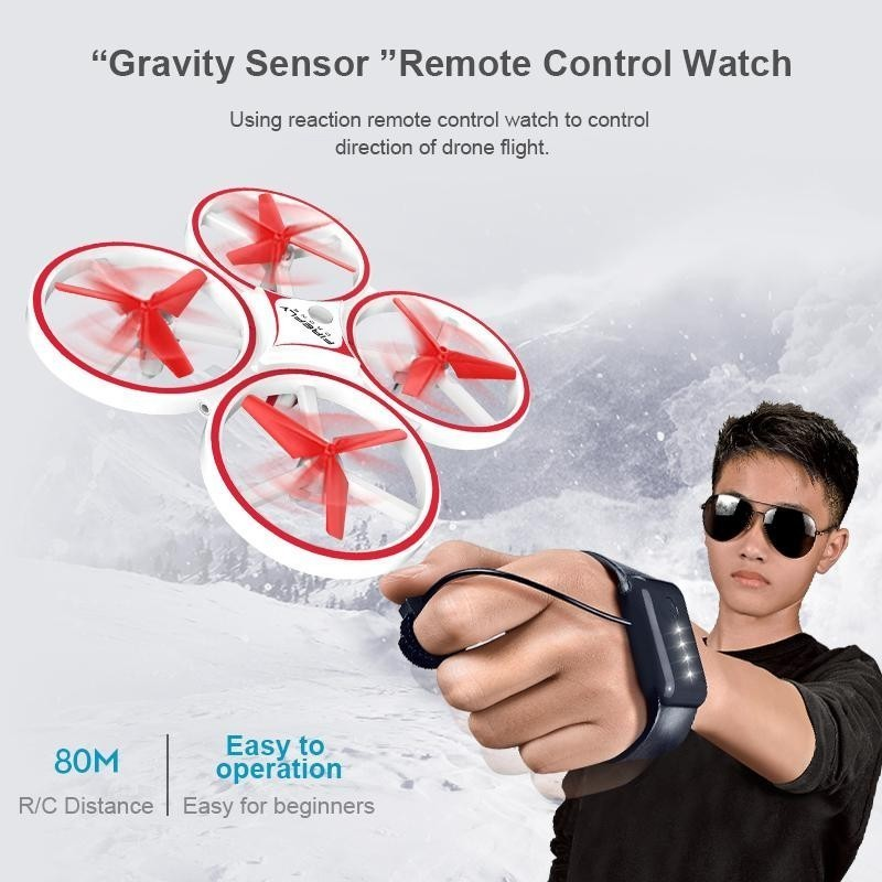 Kf04 Interactive Induction Rc Quadcopter Intelligent Watch Remote Control Manual Control Uav Led Light Drone Gravity Sensor Zlrc
