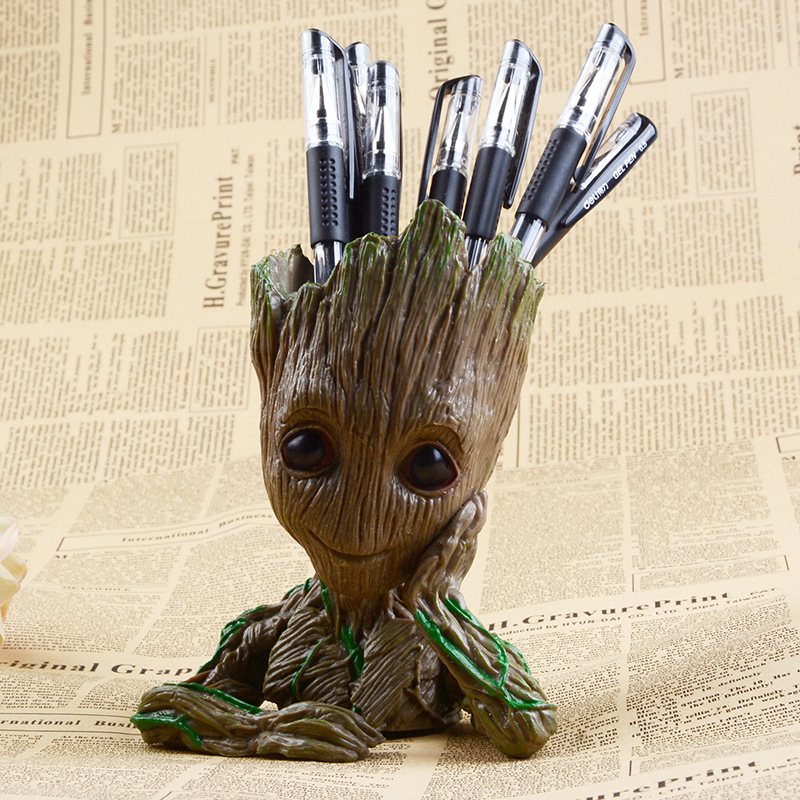 Cute Baby Flowerpot Action Figures Home Decor Model Toy Pen Pot PVC Hero Creative Guardians Of The Galaxy Crafts Figurine