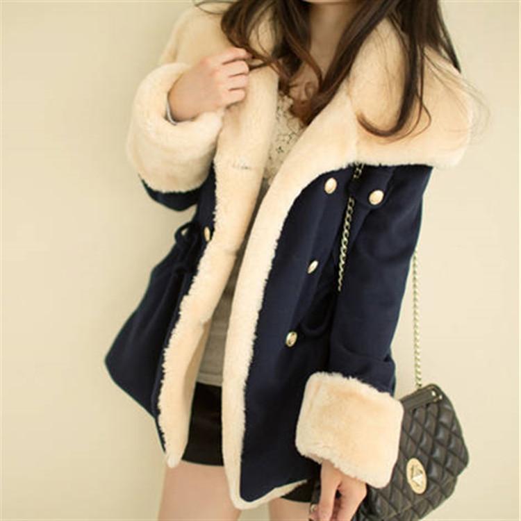 Fast Shipping  Winter Warm Coats Women Wool Slim Double Breasted Wool Coat Winter Jacket Women Fur Women 'S Coat Jackets