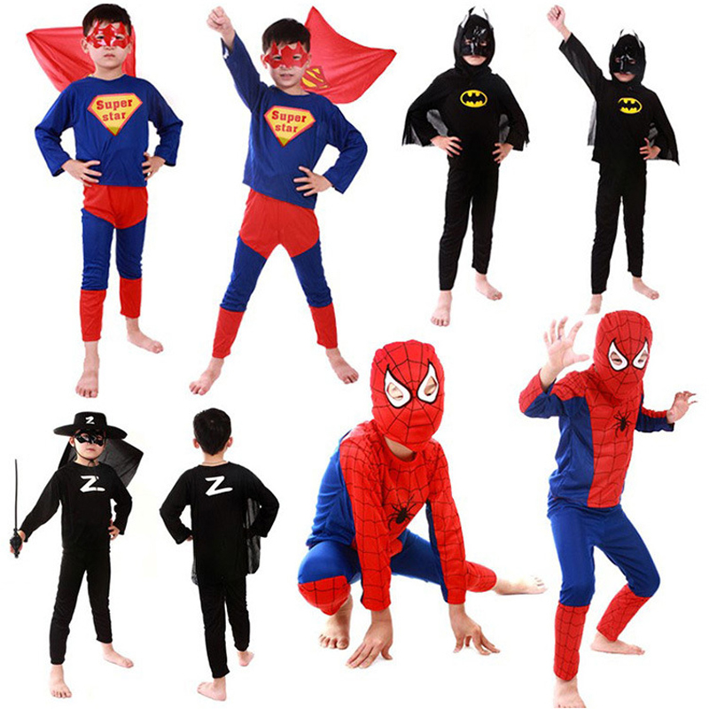 DJGRSTER Spiderman Batman Superman Zorro Children Party Cosplay Costumes Halloween Gift For Girls Boys Clothes Children's Set
