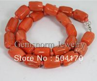 Wholesale 15mm Diameter Column Tube Natural Coral Necklace Free Shipping CNR086