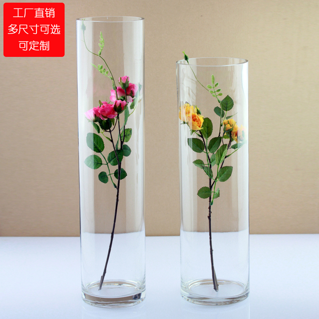 Wo Brief Transparent Glass Large Floor Vase Flower Home Accessories