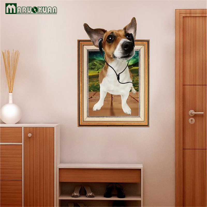 maruoxuan 2017 new 3d dog photo frame picture wall sticker living room kids bedroom background home decor wallpaper 6090cm in wall stickers from home - Kids Bedroom Background