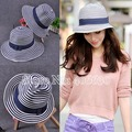 New Trendy Summer Wide Brim Straw Beach Bucket Hats For Women Sunbonnet Fedora Hats Female Free Shipping SDDS-010