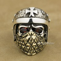 925 Sterling Silver Motorcycle Helmet Skull Ring Red CZ Eyes Brass Mask TA26A