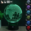 Europe Globe  3D Night Light RGB Changeable Mood Lamp LED Light DC 5V USB Decorative Table Lamp Get a free remote control