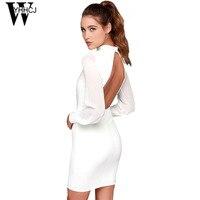 WYHHCJ 2017 Sexy Backless Summer Dress Fashion Grenadine Sleeve Women Dresses Bodycon Robe Femme Patchwork Black