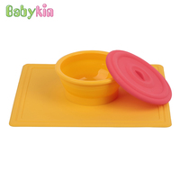 Babykin Món Ăn BPA FREE Siêu Hút Y Tế Cấp Silicone Kid Trẻ Em Bộ Đồ Ăn Bowl với Nắp cho Bé Sơ Sinh Ăn