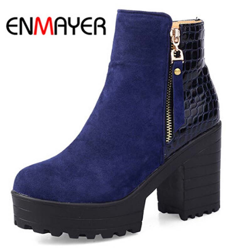 ENMAYER New Autumn Winter Boots High Quality Genuine Zip Ankle Boots Sexy Round Toe Women Motorcycle Boots Platform size 34-43 enmayer genuine leather women boots autumn winter wedges shoes zip fashion ankle boots mixed colors platform shoes boots 34 39