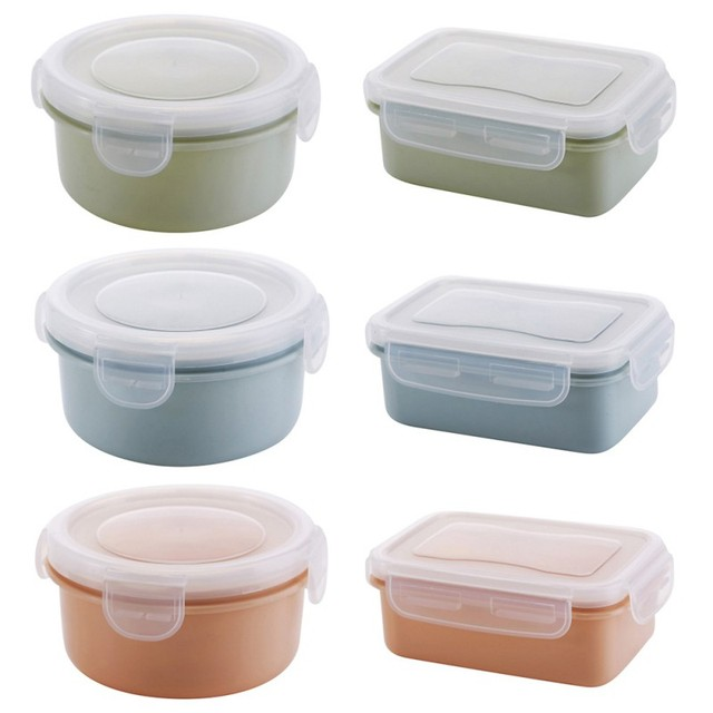 Round Square Preservation Box Lunchbox Kitchen Containers Sealed Crisper Set Plastic Moisture Proof Food Storage