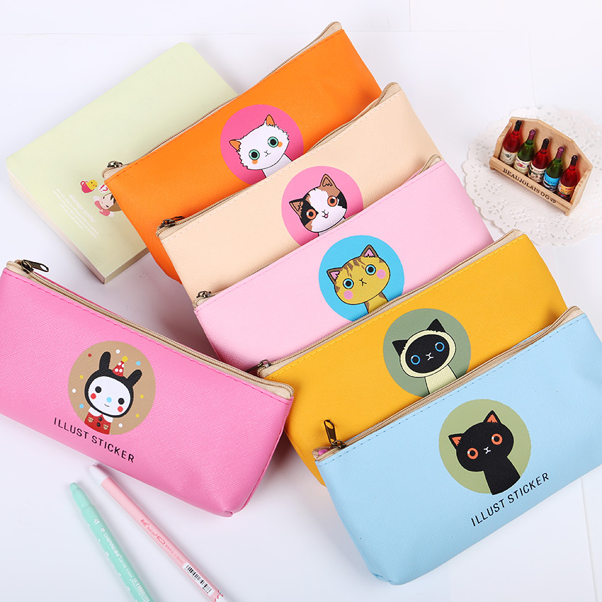 1 Pcs Korean Stationery Lovely Large Capacity Pencil Case PU Waterproof Creative Cute Cat Family Admission Package Пенал