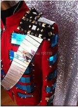 DJ Show Fashion Stage Wear with Rivet Suit Jacket Blazer