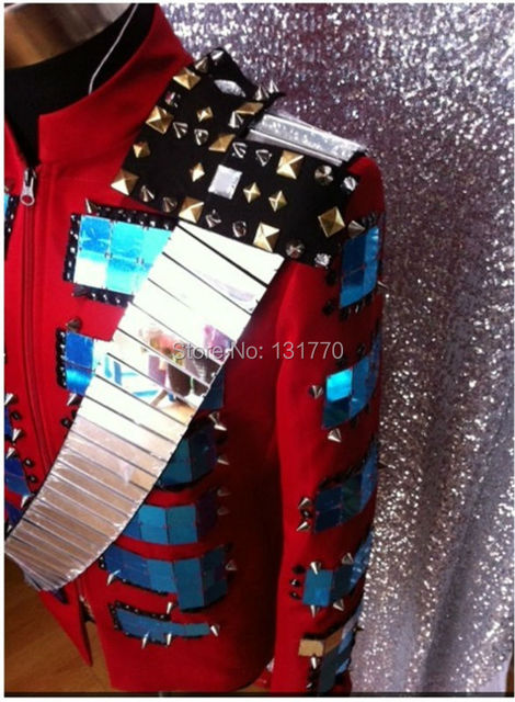 DJ Show Fashion Stage Wear with Rivet Sequins Singer Clothing for Men Cotton Material Best Performance Clothes DH-020
