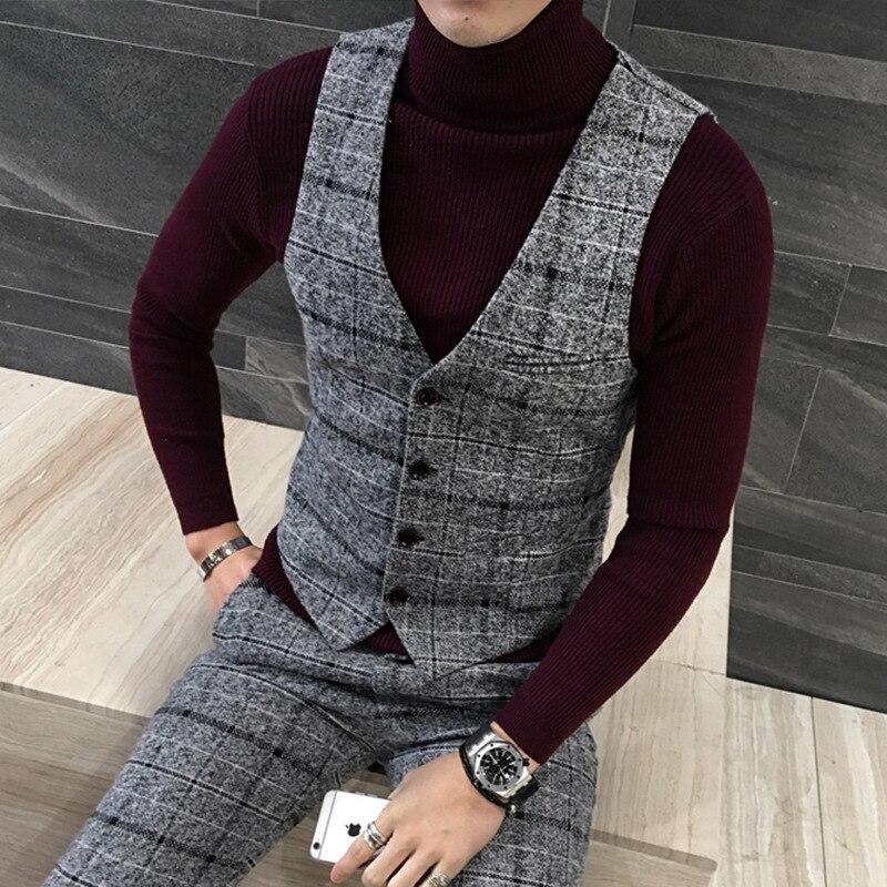 2019 caballero británico plaid lana padrino traje de tres piezas el novio - 5