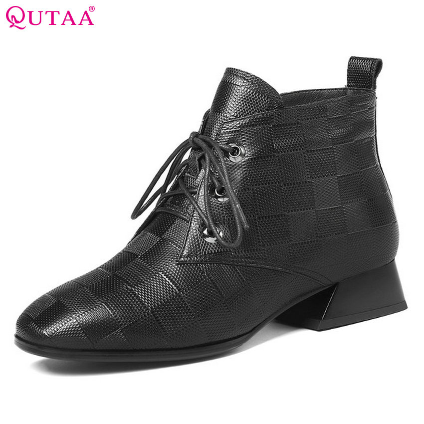 QUTAA 2019 Women Ankle Boots Platofrm Genuine Leather+PU Square Heel Winter Boots Square Toe Women Shoes Women Boots Size 34-42 цена