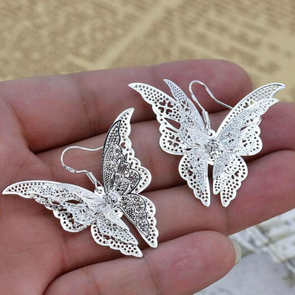 1 Pair New Arrival Fashion Charming Jewelry Multilayer Hollow-out Butterfly Shaped Women Earrings