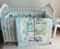 Promotion! 7PCS Woodpecker cot crib quilt crib bedding baby cradle crib bedding crib set (bumper+duvet+bed cover+bed skirt)