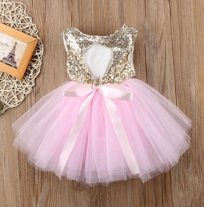 Pageant Kids Baby Girl Princess Dress Tutu Tulle Back Hollow Out Party Dress Pink Red Ball Gown Formal Dresses Outfits
