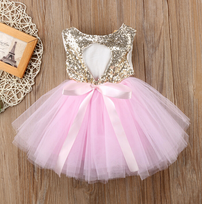 Pageant Kids Baby Girl Princess Dress Tutu Tulle Back Hollow Out Party Dress Pink Red Ball Gown Formal Dresses Outfits baby kids girls princess dress sequined wedding gown party pageant princess dresses tutu tulle dresses headwear outfits