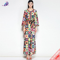 New Fashion Designer Runway Maxi Dress Plus Size Women's Long Sleeve Belted Floral Printed Long Party Dress Free Fast Express
