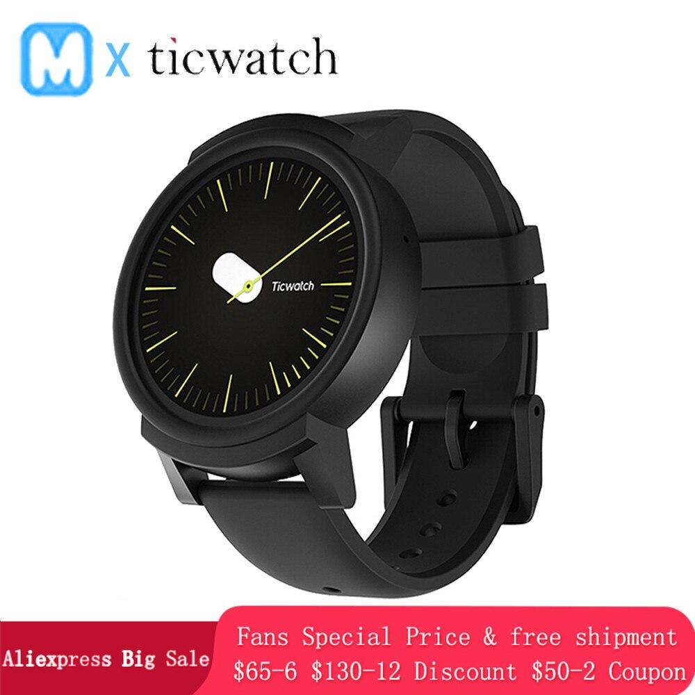 D'origine Ticwatch E GPS Sport montre connectée android Wear OS moniteur de fréquence cardiaque MT2601 Bluetooth 4G ROM WIFI Musique IP67 Étanche