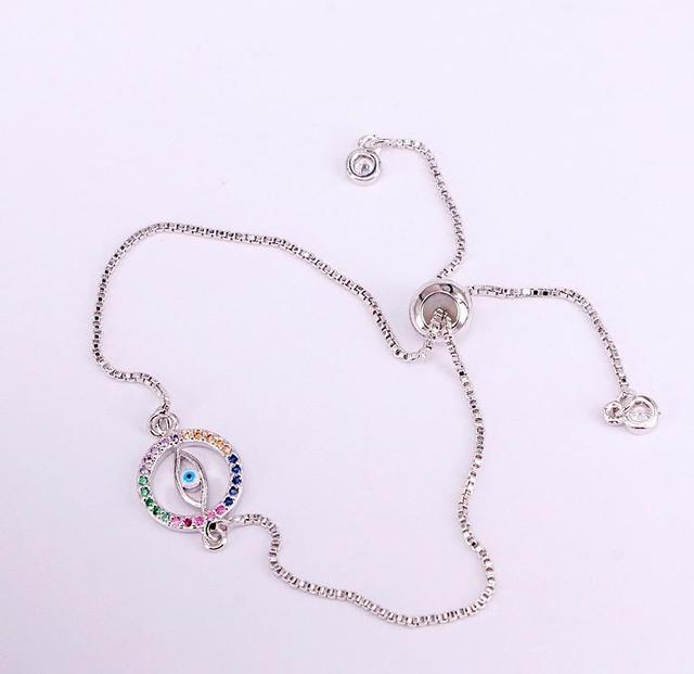 Beautiful Multi CZ Zircon Rainbow Charm Bracelet Femme Copper Chain Round Bracelets /& Bangles for Women Jewelry 35PCS