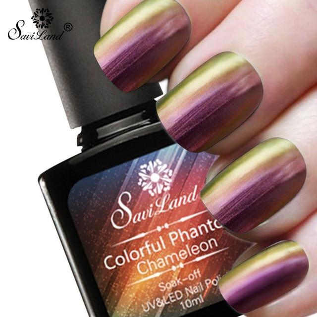 Saviland 10ml Chameleon Mood Change Gel Nail Polish Esmalte Phantom Color Need Black