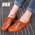 HKR 2017 spring women genuine leather flats shoes lace up dress flats casual shoes woman pointed toe flats oxfords shoes 281
