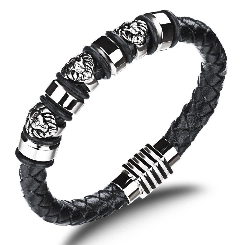 Pharaoh Mask Modelling Stylish Guy Men Leather Bracelet Brand Punk Rock Stainless Steel Magnet Braided Genuine In Wrap Bracelets From