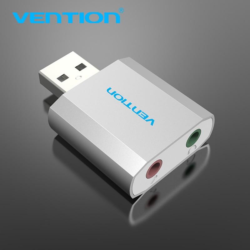 Venção USB Externo Placa de Som USB Para Jack de 3.5mm Adaptador De Fone de ouvido Microfone De Áudio da Placa de Som Para WinXP/7/8/10 Chrome os Fones de Ouvido