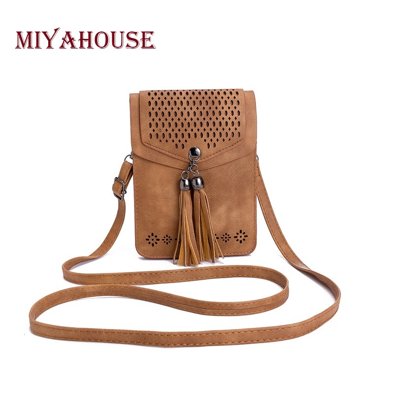 Miyahouse Tassel Phone Bag Fashion Women Mini Shoulder Bags Female Hollow Out Mobile Phone Bag Ladies Small Messenger Bag yiyohi women fashion pu fight color small shoulder bag star messenger storage bag gril crossbody bag 5 5 inch mobile phone bag