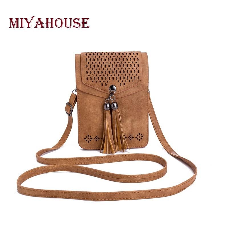 Miyahouse Tassel Phone Bag Fashion Women Mini Shoulder Bags Female Hollow Out Mobile Phone Bag Ladies Small Messenger Bag