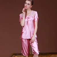 New Autumn Satin Silk Pajamas Set Women Nightwear Short Sleeve Sleepwear Lace pijama kigurumi pyjamas Ladies Pink Home Clothing