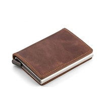 Automatic Silde Aluminum ID Cash Card Holder Genuine Leather Men Business RFID Blocking Wallet Credit Card
