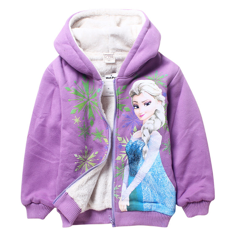Children Elsa Moana Thicken Sweatshirts Coat Girls Fleece Trolls Hoodies Boys Spiderman Pokemon Winter Warm Outerwear Jacket