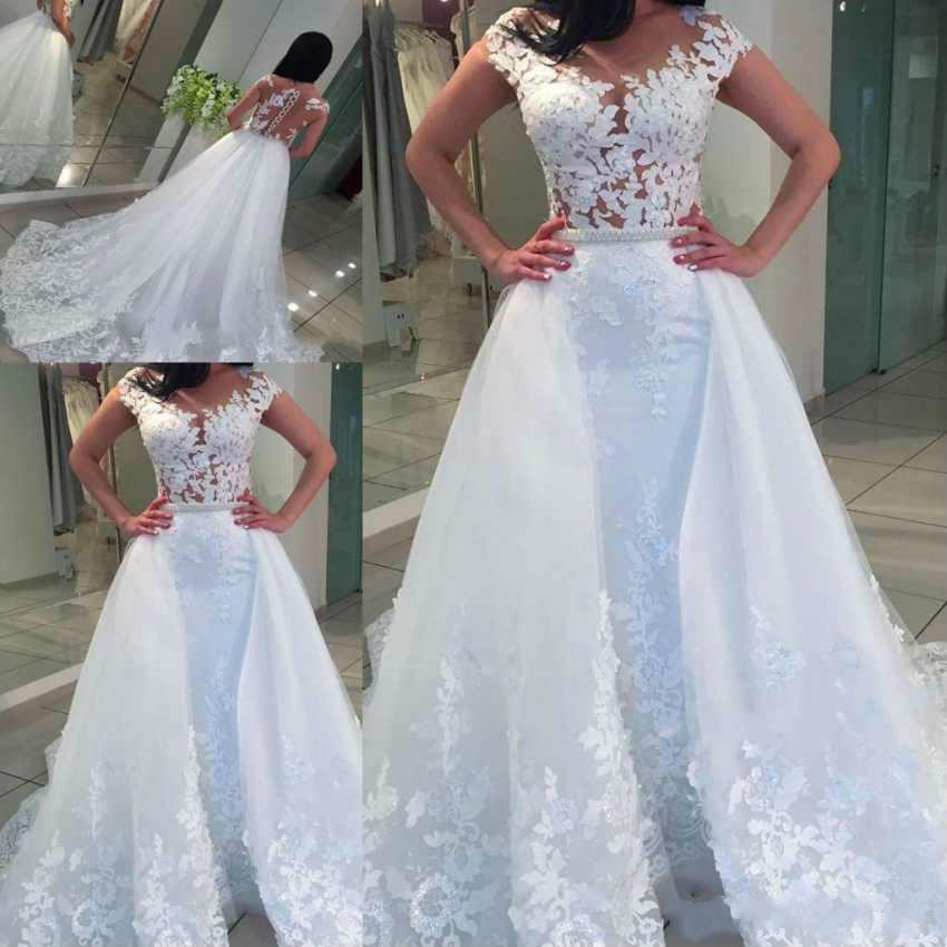 Vestido De Noiva Cap Sleeve Mermaid Wedding Dress Detachable Train Wedding Dresses Illusion Bridal Gowns Sexy