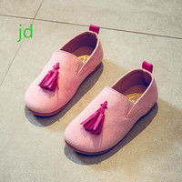 2018 Spring New Pattern Girl Leather Shoes Kids Princess Children Doug Tassels Baby Soft Bottom Single