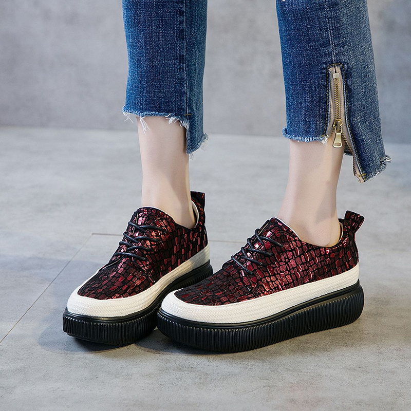 Women's Flat Fisherman Shoes Fashion Sequins Genuine Leather Sneakers For Woman 2019 Spring Autumn Sneakers Ladies Platform Shoe(China)