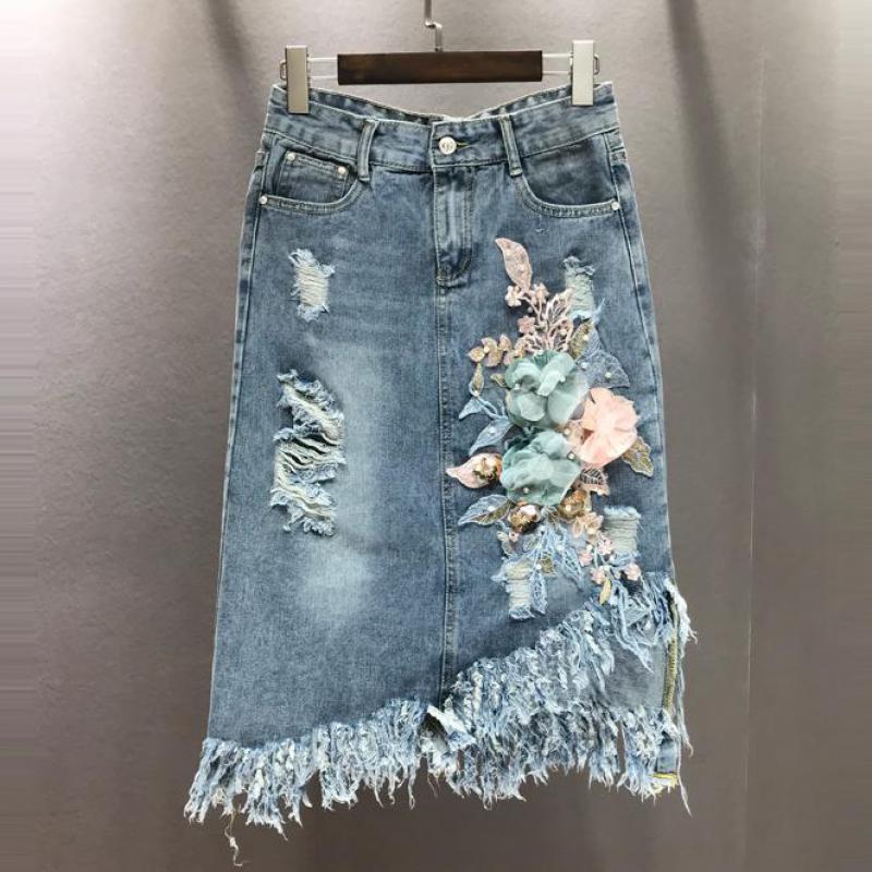 Summer Fashion Women Ripped Tassel Embroidery High Wasited Irregular Denim Skirt , Woman Elastic  Flower Beading Jeans Skirts Юбка
