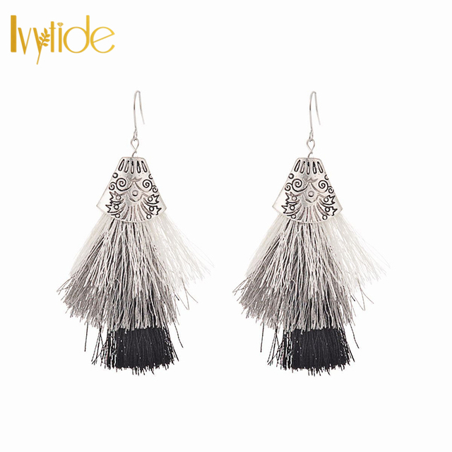 5e9726632ea29f Lvytide Tassel earrings 3 layered white gray black tiered tassel 3 tiers  tassels fringe statement earrings