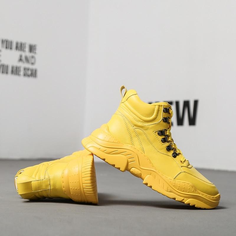 CuddlyIIPanda 2019 الرجال الأزياء أحذية رياضية الربيع الخريف الذكور حذاء كاجوال جديد وصول أبي أحذية عالية أعلى سميكة وحيد أحذية مشي-في أحذية رجالية غير رسمية من أحذية على  مجموعة 3