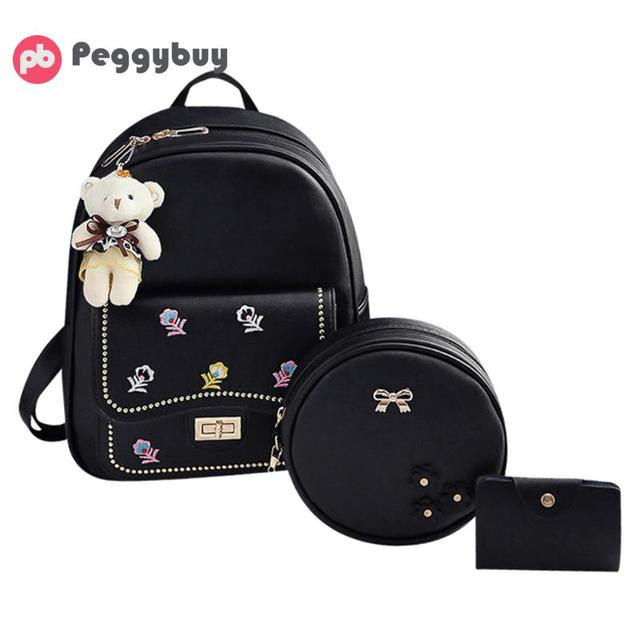 62c95e704515 3pcs Set Fashion Embroidered Women Backpacks PU Leather Shoulder Bag School  Bag For Teenage Girls