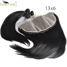 Human Hair Bundles With Frontal Transparent 13x6 Pre Plucked Lace with Nature Color 1b Ross Pretty Remy