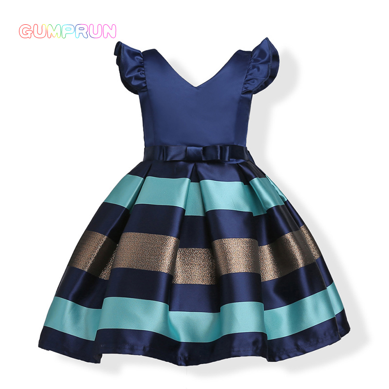GUMPRUN 2018 Bow Striped Princess Girl Dress Summer Sleeveless Wedding Birthday Party Dresses For Girls Knee-length Kids Clothes lace dresses for girls wedding birthday party dress sleeveless flower summer dress girl clothes bow fashion cute princess dress