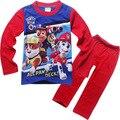 Filhote de Cachorro dos desenhos animados das Crianças Roupas de Marca Primavera Outono Nova Homewear Pijama Define Duas Peças Terno para Os Meninos 3-8 anos