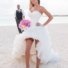 Beach Wedding Dresses 2016 High Front Low Back Puffy Lovely Wedding Party Dresses Bridal Gowns Destination