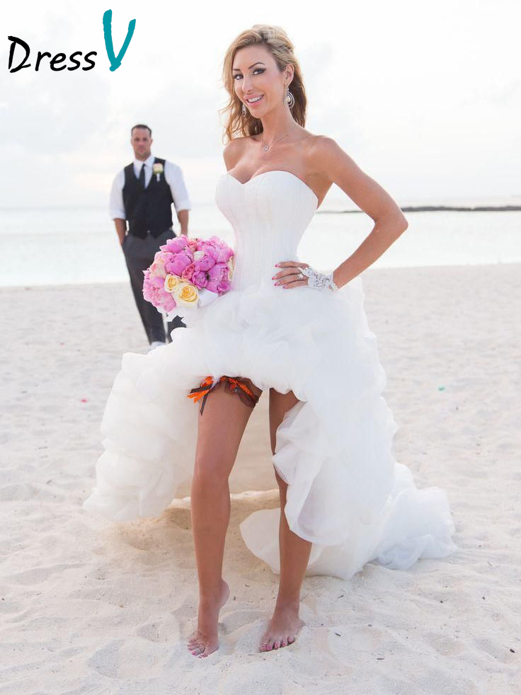 Dressv Beach Wedding Dresses High Front Low Back Puffy Lovely Wedding Party Dresses White Bridal Gown Beach Wedding Dresses
