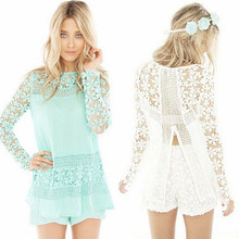 Back zip summer tops ladies 2018 sexy blouse crochet lace patchwork hollow out chiffon shirt long sleeve female chiffon blouses